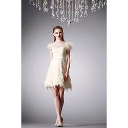 Cocktail Party Dress - Daffodil A-line Jewel Short/Mini Lace