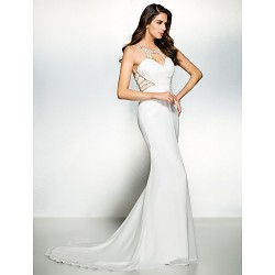 Formal Evening Dress - Ivory Trumpet/Mermaid Scoop Court Train Chiffon