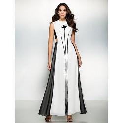 Formal Evening Dress Multi Color A Line Jewel Ankle Length Chiffon