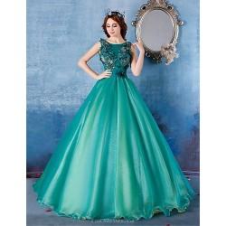 Formal Evening Dress Dark Green Ball Gown Scoop Floor Length Satin