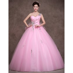 Formal Evening Dress - Candy Pink Petite Ball Gown Sweetheart Floor-length Satin / Tulle / Stretch Satin