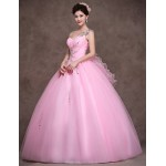 Formal Evening Dress - Candy Pink Petite Ball Gown Sweetheart Floor-length Satin / Tulle / Stretch Satin Special Occasion Dresses