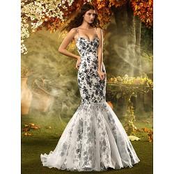 Fit & Flare Misses Pear Inverted Triangle Hourglass Apple Petite Wedding Dress Print Court Train Spaghetti Straps Lace Organza Satin