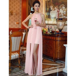 Formal Evening Dress - Candy Pink Plus Sizes Sheath/Column Bateau Floor-length Chiffon