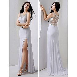 Formal Evening Dress White Plus Sizes Petite Sheath Column Jewel Floor Length