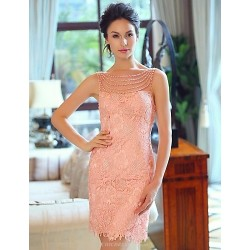 Formal Evening Dress Pearl Pink Plus Sizes Sheath Column Bateau Strapless Short Mini Satin