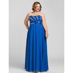 Formal Evening / Prom / Military Ball Dress - Royal Blue Plus Sizes / Petite Sheath/Column Strapless Floor-length Chiffon