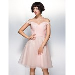 TS Couture Cocktail Party Dress - Pearl Pink A-line Off-the-shoulder Knee-length Chiffon / Lace / Tulle Special Occasion Dresses