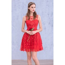 Cocktail Party Dress - Ruby Ball Gown Jewel Short/Mini Georgette