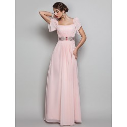 Formal Evening Prom Military Ball Dress Pearl Pink Plus Sizes Petite Sheath Column Square Floor Length Chiffon