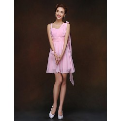 Short/Mini Bridesmaid Dress - Blushing Pink Sheath/Column Spaghetti Straps