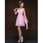 Short/Mini Bridesmaid Dress - Blushing Pink Sheath/Column Spaghetti Straps Special Occasion Dresses