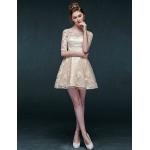 Cocktail Party Dress - Champagne A-line Bateau Short/Mini Lace Special Occasion Dresses