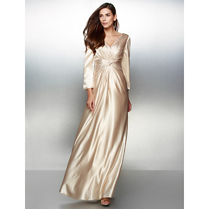 d265cf04919 Formal Evening Dress - Champagne A-line V-neck Floor-length Charmeuse  Special