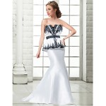 Formal Evening Dress - Ivory Plus Sizes / Petite Trumpet/Mermaid Strapless Floor-length Satin Special Occasion Dresses