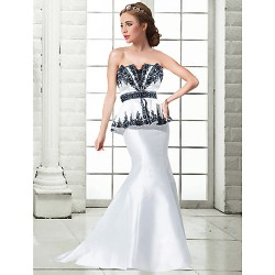 Formal Evening Dress - Ivory Plus Sizes / Petite Trumpet/Mermaid Strapless Floor-length Satin