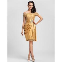 Cocktail Party Prom Dress Gold Plus Sizes Petite Sheath Column Off The Shoulder Short Mini Lace Stretch Satin