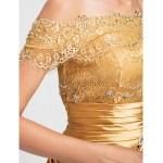TS Couture Cocktail Party / Prom Dress - Gold Plus Sizes / Petite Sheath/Column Off-the-shoulder Short/Mini Lace / Stretch Satin Special Occasion Dresses