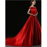 Formal Evening Dress - Ruby Plus Sizes / Petite A-line Off-the-shoulder Court Train Satin Special Occasion Dresses
