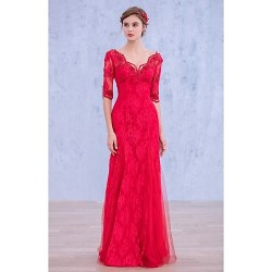 Cocktail Party Dress Fuchsia Ball Gown V Neck Floor Length Lace Sequined