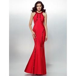 Formal Evening Dress Ruby Plus Sizes Petite Sheath Column Jewel Floor Length Jersey