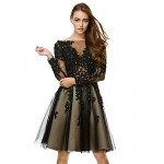 TS Couture Cocktail Party Dress - Black A-line Bateau Knee-length Tulle Special Occasion Dresses