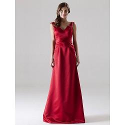 Floor Length Satin Bridesmaid Dress Ruby Plus Sizes Petite A Line Princess V Neck Straps