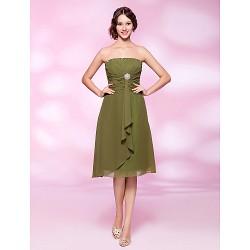 Cocktail Party Dress Clover Plus Sizes Petite A Line Princess Strapless Knee Length Chiffon