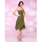 Cocktail Party Dress - Clover Plus Sizes / Petite A-line / Princess Strapless Knee-length Chiffon Special Occasion Dresses