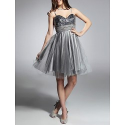 Cocktail Party / Prom / Sweet 16 / Holiday Dress - Silver Plus Sizes / Petite A-line / Princess Sweetheart / Spaghetti Straps Knee-length