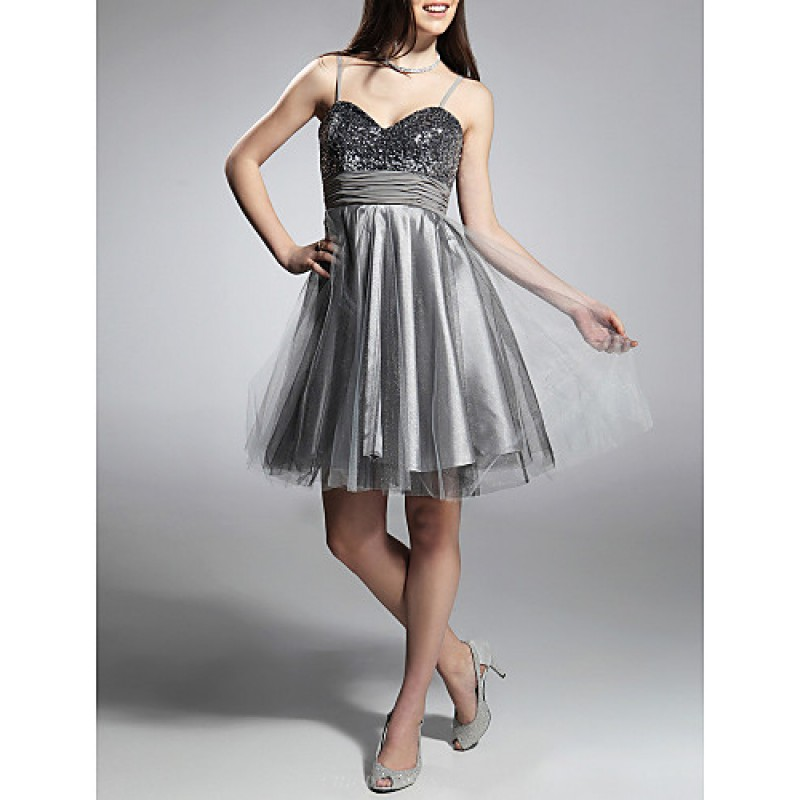Cocktail Party Prom Sweet 16 Holiday Dress Silver