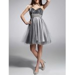 Cocktail Party / Prom / Sweet 16 / Holiday Dress - Silver Plus Sizes / Petite A-line / Princess Sweetheart / Spaghetti Straps Knee-length Special Occasion Dresses