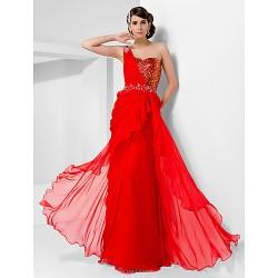 Formal Evening Prom Military Ball Dress Ruby Plus Sizes Petite Sheath Column One Shoulder Sweetheart Floor LengthChiffon