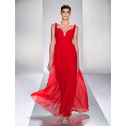 Formal Evening / Prom / Military Ball Dress - Ruby Plus Sizes / Petite A-line Queen Anne Ankle-length Chiffon / Satin Chiffon