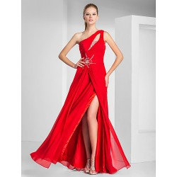 Formal Evening Prom Military Ball Dress Ruby Plus Sizes Petite Sheath Column One Shoulder Floor Length Chiffon