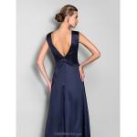 TS Couture Formal Evening / Military Ball Dress - Dark Navy Plus Sizes / Petite Sheath/Column Jewel Sweep/Brush Train Stretch Satin / Chiffon Special Occasion Dresses
