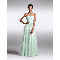 Formal Evening Dress Sage Plus Sizes Petite A Line Princess Strapless Floor Length Lace Tulle