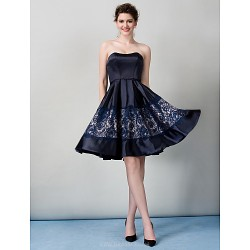 Cocktail Party Dress Dark Navy A Line Strapless Knee Length Satin