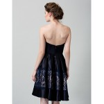 TS Couture Cocktail Party Dress - Dark Navy A-line Strapless Knee-length Satin Special Occasion Dresses