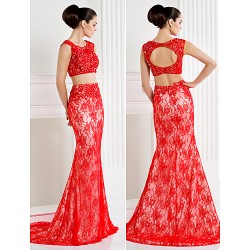 Formal Evening Dress Ruby Plus Sizes Petite Trumpet Mermaid Scoop Sweep Brush Train Lace