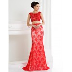 Formal Evening Dress - Ruby Plus Sizes / Petite Trumpet/Mermaid Scoop Sweep/Brush Train Lace Special Occasion Dresses