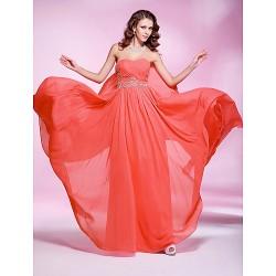 Prom Military Ball Formal Evening Dress Watermelon Plus Sizes Petite Sheath Column Strapless Sweetheart Floor Length Georgette