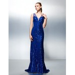 TS Couture A-line V-neck Sweep/Brush Train Sequined Evening Dress (1809167) Special Occasion Dresses