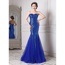 Formal Evening Dress Royal Blue Trumpet Mermaid Sweetheart Floor Length Tulle Sequined