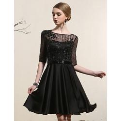 Cocktail Party Dress Black Plus Sizes A Line Bateau Short Mini Satin