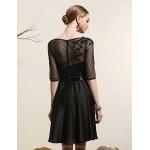 Cocktail Party Dress - Black Plus Sizes A-line Bateau Short/Mini Satin Special Occasion Dresses