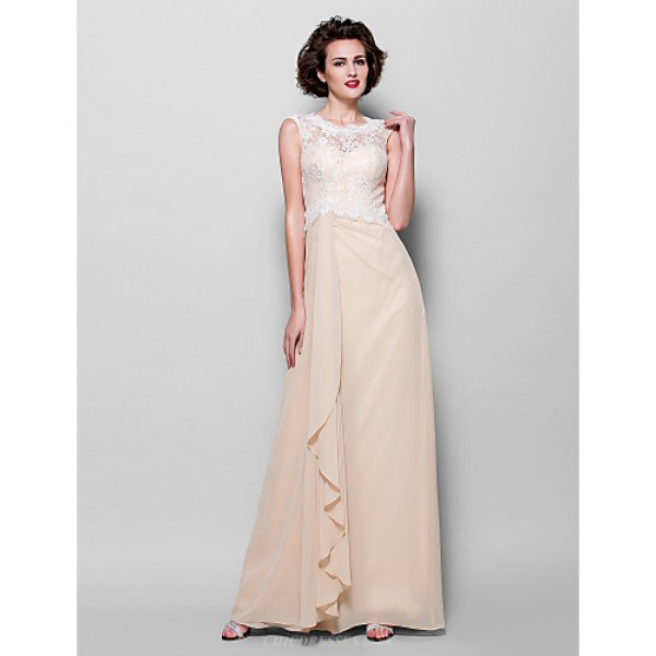 Sheath/Column Plus Sizes / Petite Mother of the Bride Dress - Champagne Floor-length Sleeveless Chiffon / Lace Mother Of The Bride Dresses