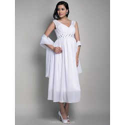 Formal Evening / Wedding Party / Cocktail Party Dress - White Maternity Sheath/Column V-neck Tea-length Chiffon