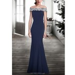 Formal Evening Dress - Dark Navy Plus Sizes / Petite Trumpet/Mermaid Off-the-shoulder Floor-length Lace Special Occasion Dresses