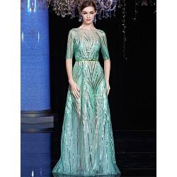Formal Evening Dress - Clover / Black A-line Bateau Floor-length Tulle / Charmeuse / Sequined